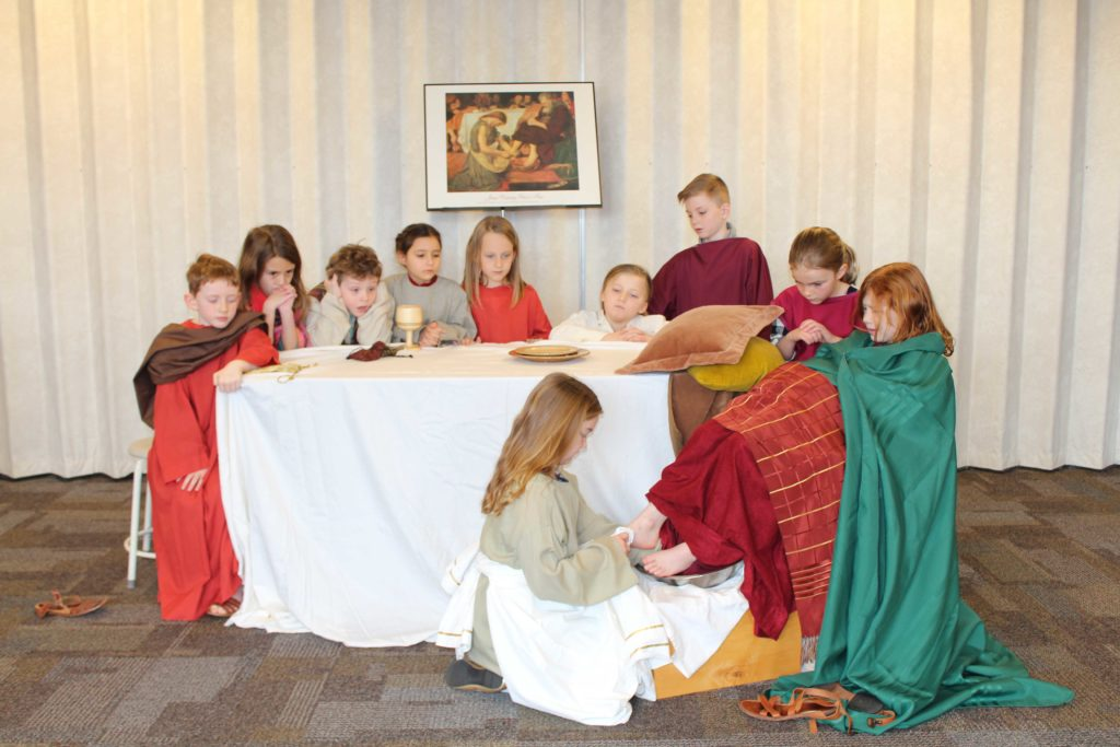 Westminster children acting out scene from scripture