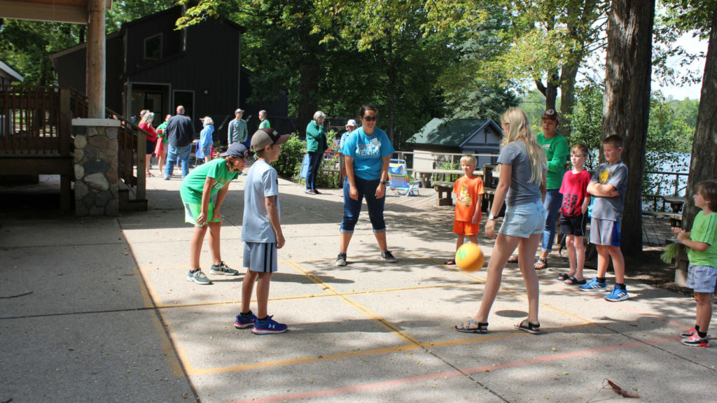 Four square being played at Camp Henry