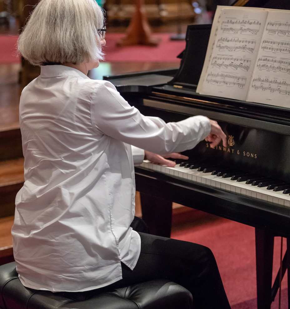 Janlee playing Steinway piano