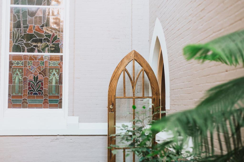 Open side door to sanctuary