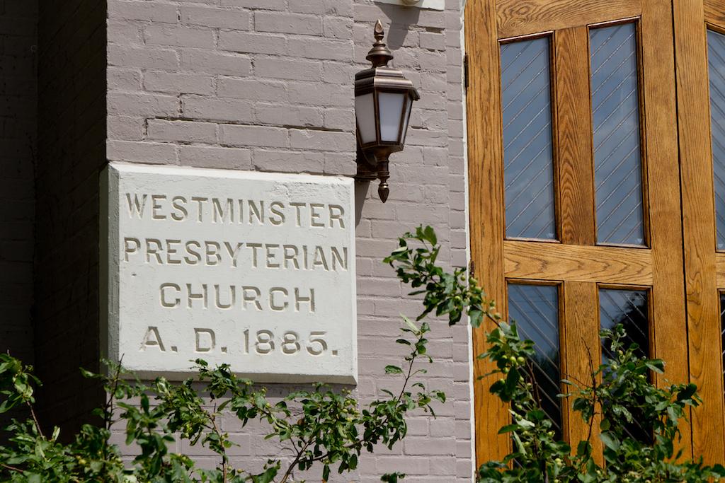 Westminster Presbyterian Church A.D. 1885 plaque