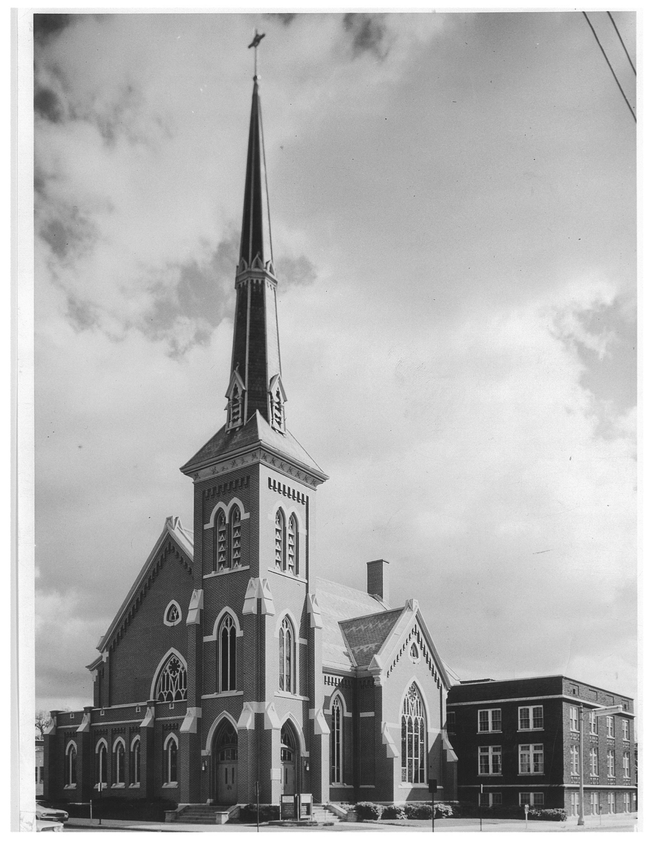 Old black and white photo of Westminster church exterior