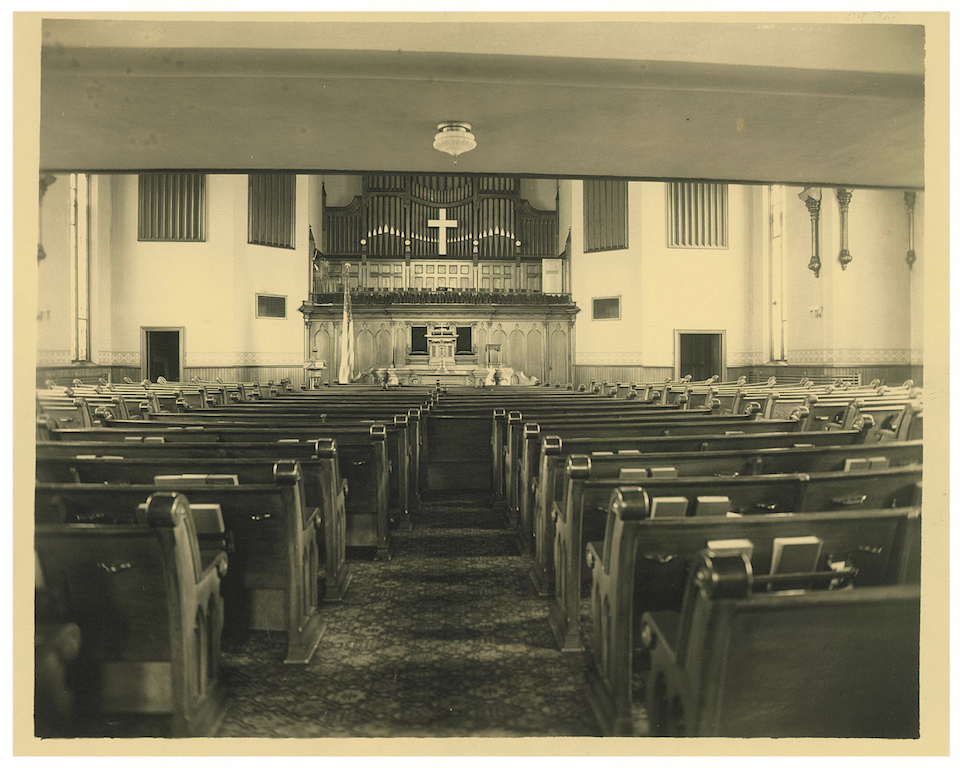 Old black and white photo of sanctuary