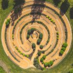 Overhead view of large prayer labrynth