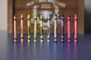 ten crayons standing on end